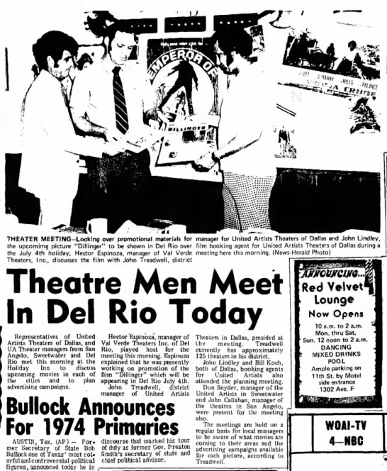 UA meeting in Del Rio - John A Treadwell - THEATER MEETING-Looking over promotional...