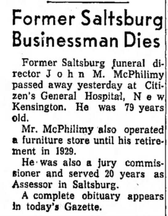 - rector John M. McPhilimy passed away yesterday...