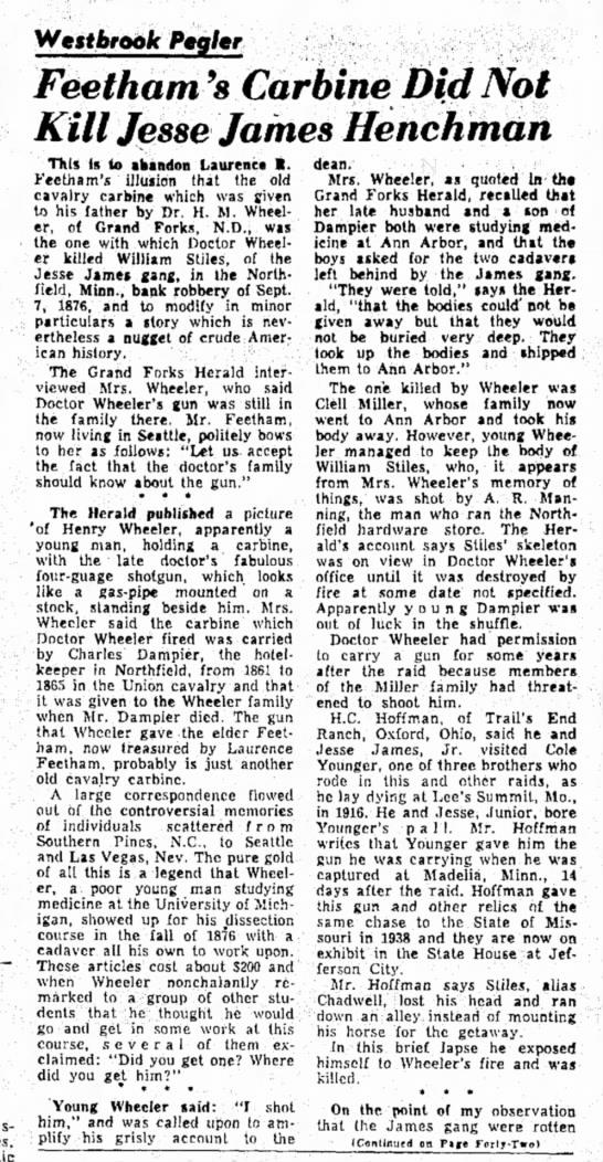 Article from Lebanon Daily News, Lebanon, Pennsylvania 11 June 1953 - WestferooJc Peg/er Feetham 9 s Carbine Did Not...