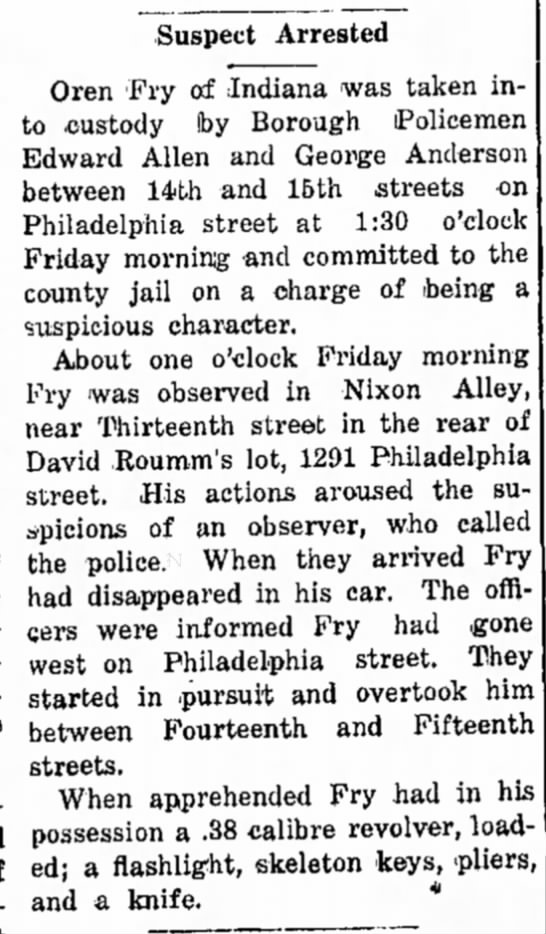Suspect arrested behind David Roumm's lot, 1929 - Suspect Arrested Oren 'Fry of Indiana was taken...