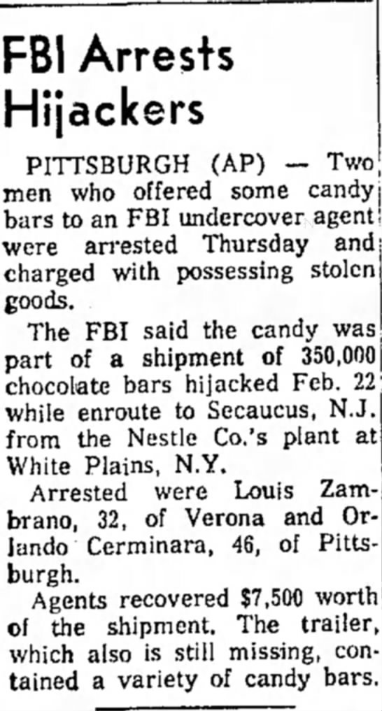 The Indiana Gazette 15 March 1968 Louis Zambrano arrested for hijacking -