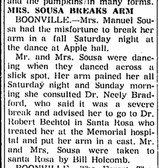 1955 - Mrs Manuel Sousa breaks arm dancing  - and the pumpkins/in many forms. MKS. SOUSA...