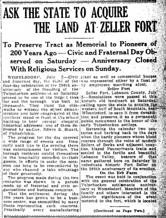 Fort Zeller acquiring land July 2, 1923 Labanon Daily News -