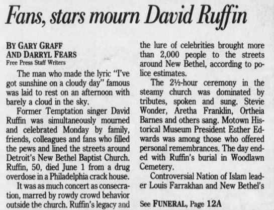 Gone with a song in the heart: Fans, stars mourn David Ruffin -