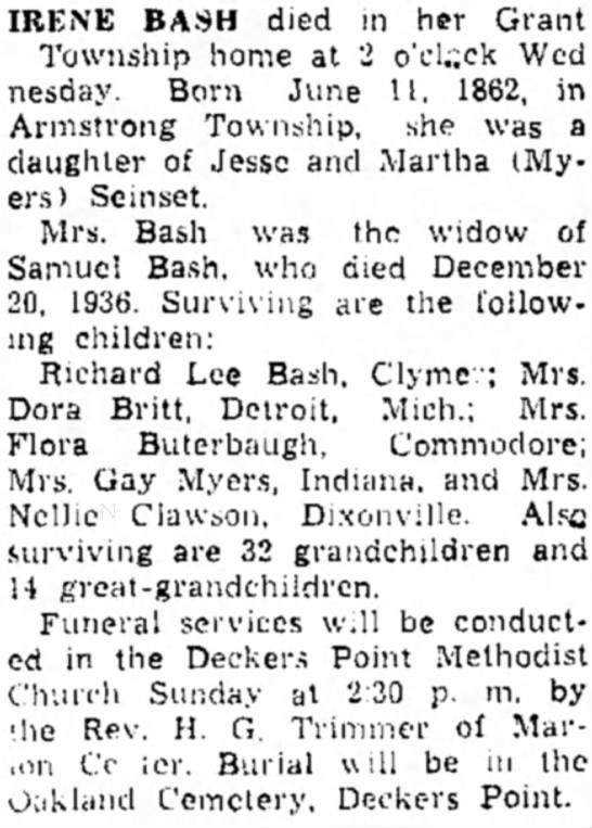 Irene Bash obituary -