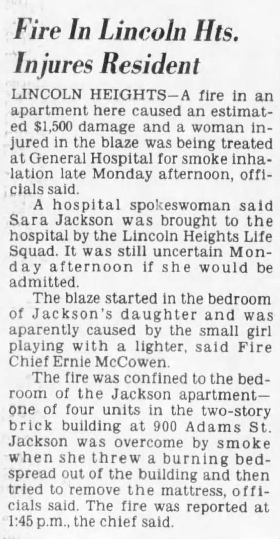 1981-03-17 - Lincoln Heights apartment fire -