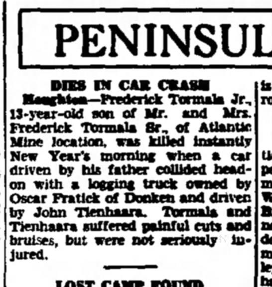 Fredrick Tormala's son dies at 13 in collision, New Year's 1940 -