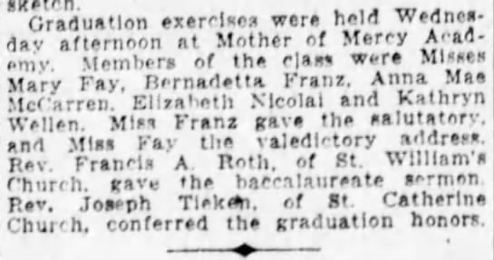 Bernadetta Franz High School Graduation Jun 9, 1929 -