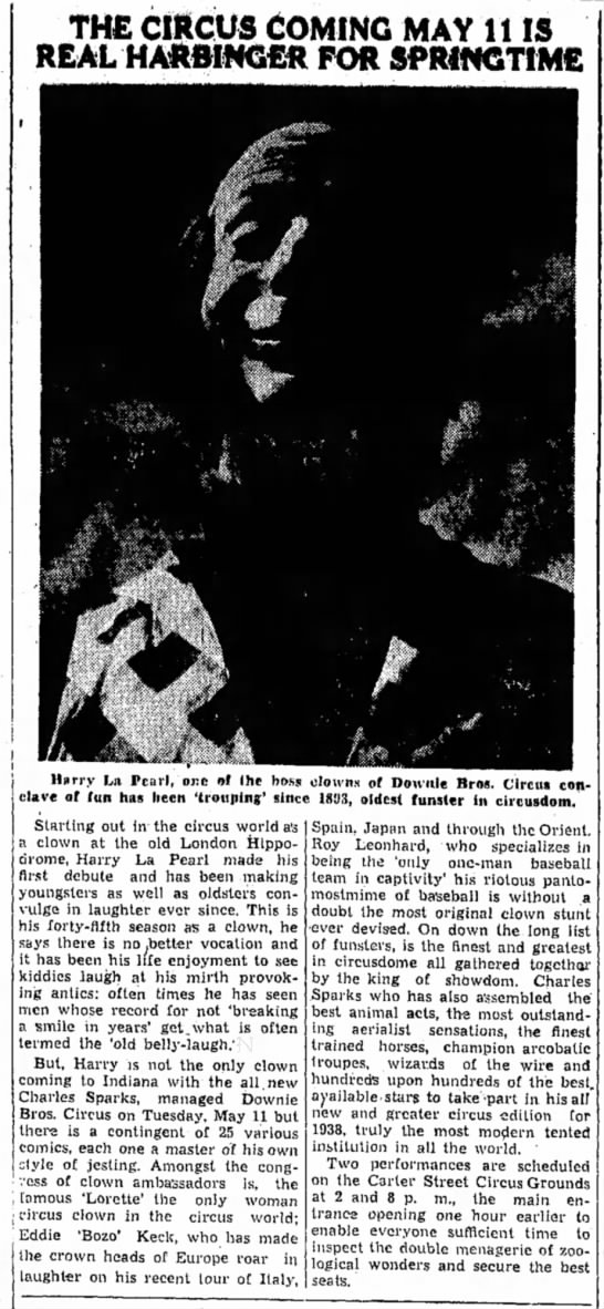 Sparks Clown Story5-4-1938 - THE CIRCUS COMING MAY 11 IS REAL HARBINGER FOR...