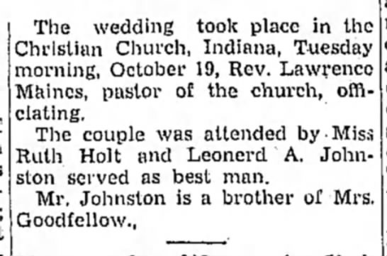 Johnston - Goodfellow marriage (pt2) -