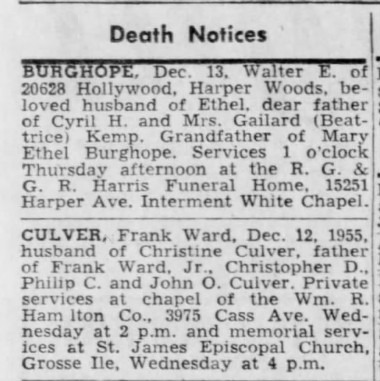 Death Notices [Frank Ward Culver] -