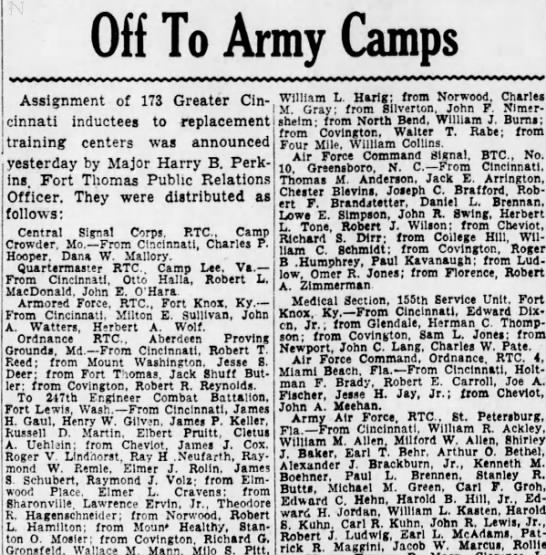 Pitt_Milo-Off to Army Camps-Enquirer 4-13-1943 -