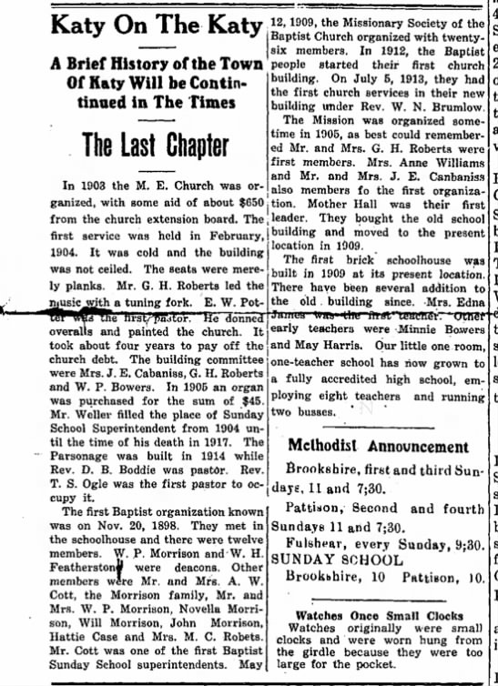 The Brookshire Times, 28 May 1937, Page 8 - Katy On The Katy A Brief History of the Town...