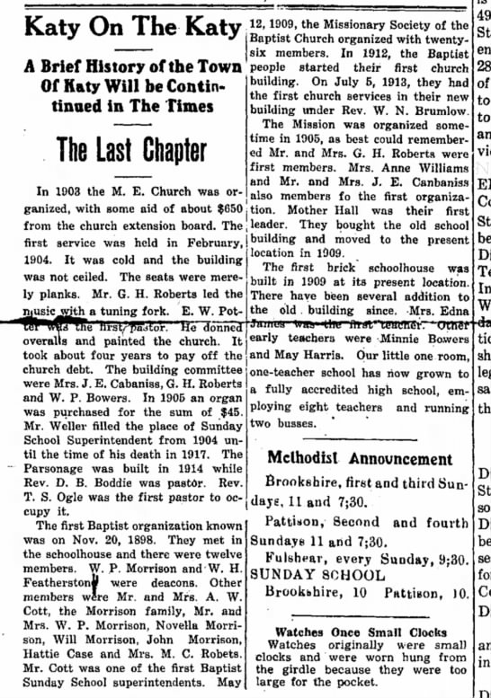 The Brookshire Times, 28 May 1937, page 8. - Katy On The Katy A Brief History of the Town...