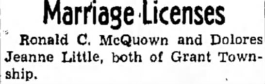 Ronald and Dolores McQuown marrage license - Marriage Licenses Ronald C. McQuown and Dolores...