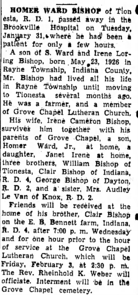 Homer Ward Bishop obit -
