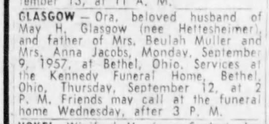 "Ora Glasgow's obituary - ClASGOW - Ora"", beloved ""husband ""of. May H...."