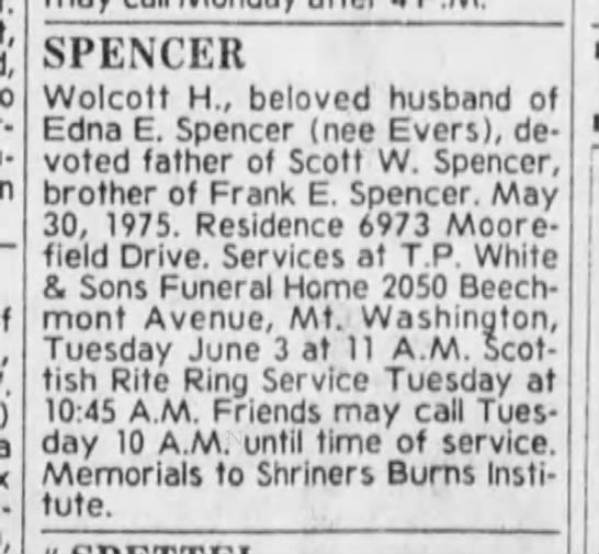 The Cincinnati Enquirer (Cin OH) 6/1/1975, Sun pg 41 - Wolcott Spencer obit -