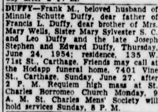 Francis M Duffy Obituary -