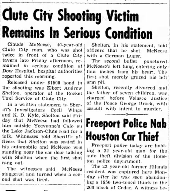 Full newspaper article about Grandpa Elbert Shelton shooting man - Clute Citv Shooting Victim Remains In Serious...