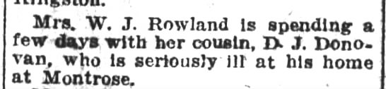 1928 Mrs. Rowland of Courtdale visits cousin D.J. Donovan -