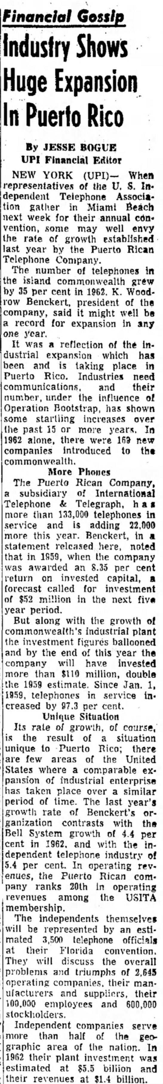 K. Woodrow Benckert article on phone usage in PR - Financial Gossip Industry Shows Huge Expansion...