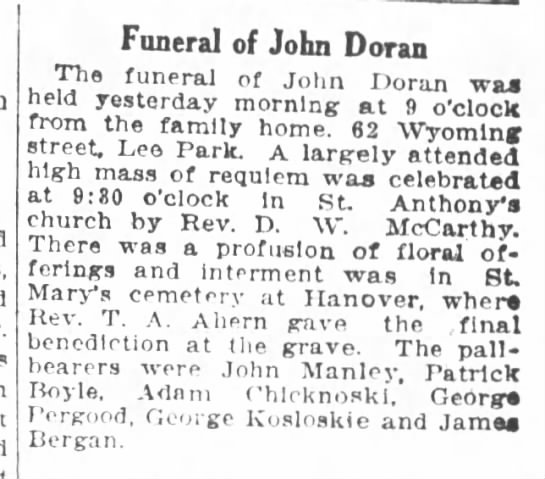john doran funeral notice 1925 -