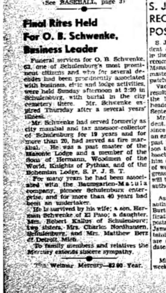 O.B. Schwenke's obituary - (See BASEBALL, page 3) Final Rites Hera For O....