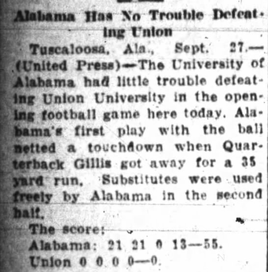 """Alabama has no trouble defeating Union"" The Anniston Star, September 28, 1924, p.8 -"