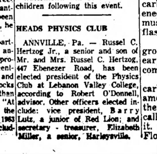 1963 August 10 Russel C. Hertzog, Jr. heads Physics Club -