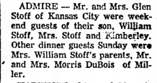 Stoff, Glen Wm DuBois 2 Apr 1964 Emporia Gazette KS -