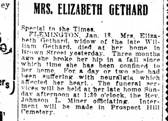 William and Elizabeth GETHARD 1908 -