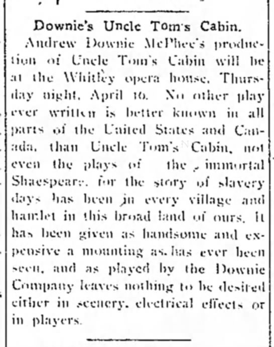 Downie Uncle Tom Play