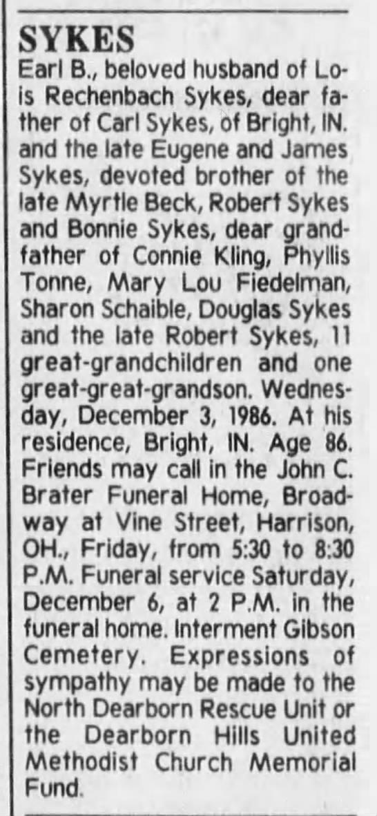 Obituary: Earl B. Sykes -