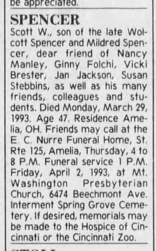 The Cincinnati Enquirer (Cin OH) 3/31/1993, Wed pg 17 - Scott Spencer obit -