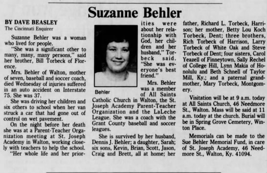 Obituary for Suzanne Behler (Aged 37)  Sept 19, 1990 -