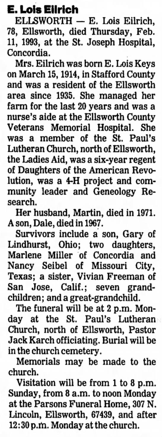 Edna Lois Keys obituary -