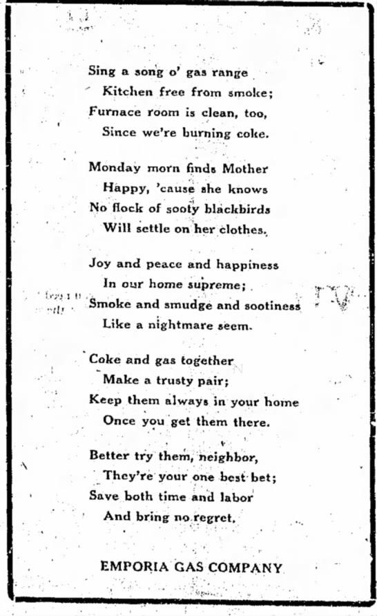 Gas Service ad poem -