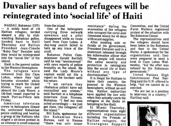 - Duvalier says band of refugees will be...