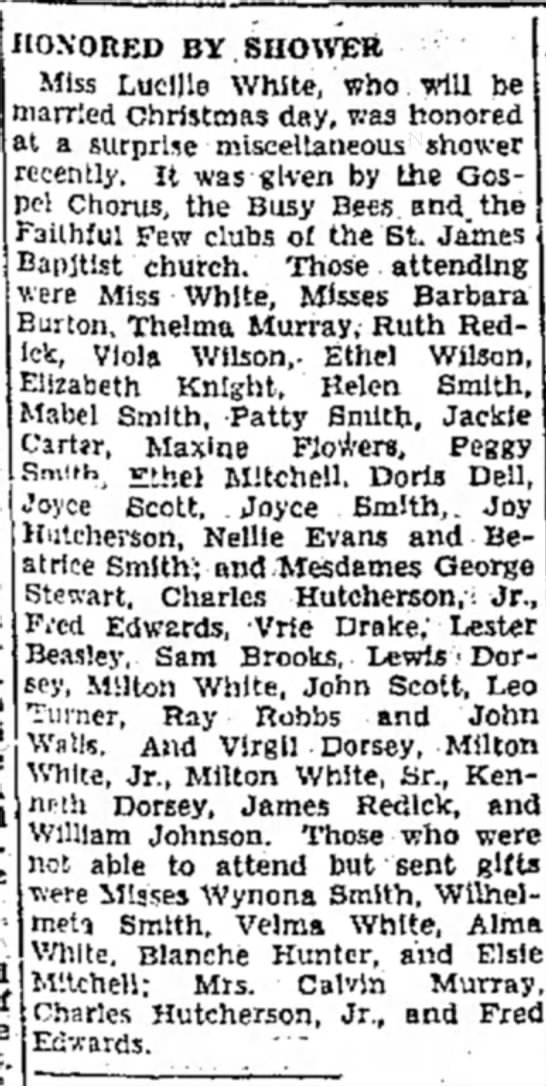11 Dec 1947 Emporia Gazette Surprise Bridal Shower for Lucile White -