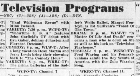 Television Programs. The Cincinnati Enquirer (Cincinnati, Ohio) 4 February 1951, p 88 -