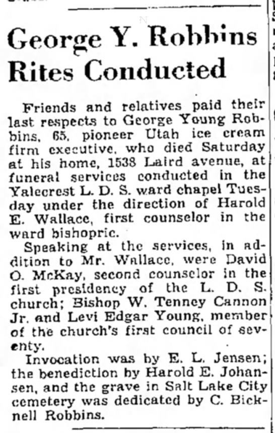 George Y. Robbins Rites article, SL Trib 21 June 1939 p 8 -