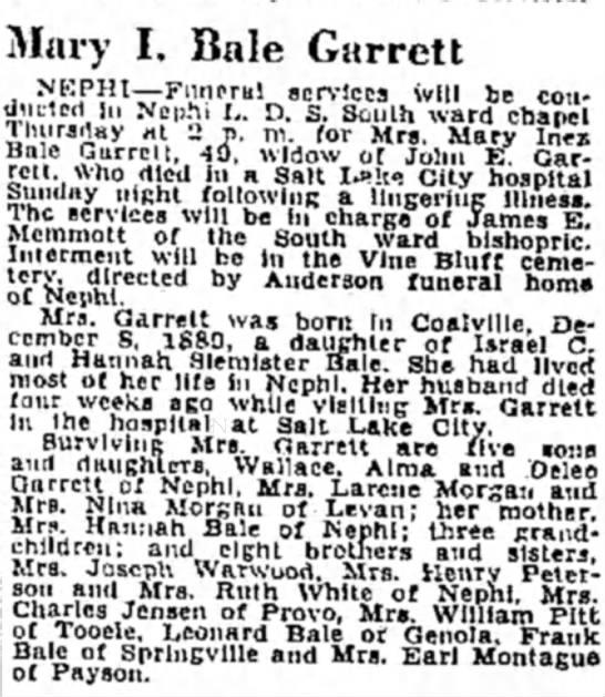 Mary Inez Bale Garrett Obituary  -