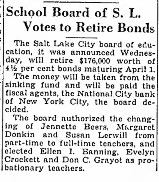 13FEB1936 Salt Lake Tribune Salt Lake City, UT  Page 11 -