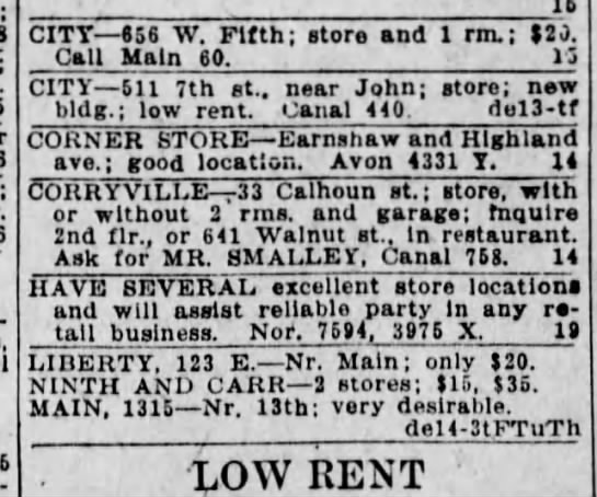 Friday December 14, 1928 p.13 Cincinnati Enquirer - ; I CITY 656 W. Fifth; store and 1 rm. $2),...