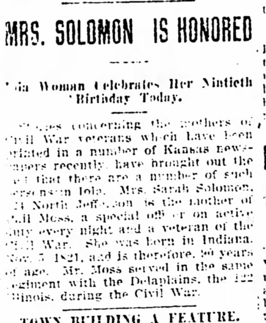 Mrs Solomon is Honored 90th Birthday - The Iola Register 4 Nov 1911 Page 1 -
