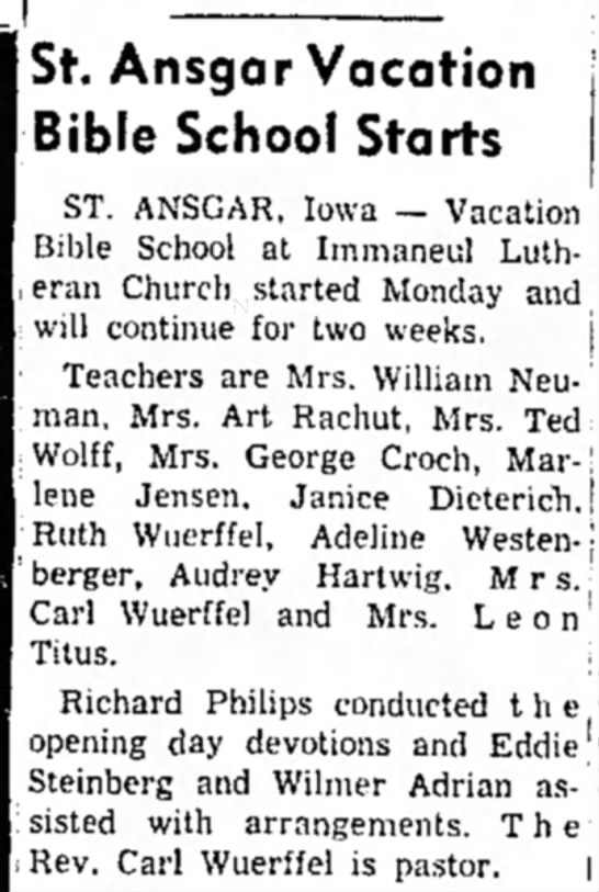 Ruth and Mrs. Carl Wuerffel -