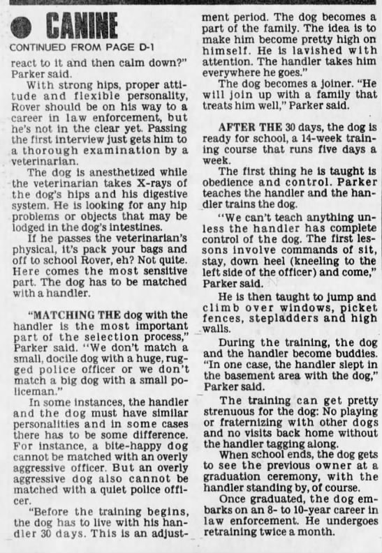 k9 Shogun Cincinnati_The Cincinnati Enquirer 12 Oct 1981 pD-2 -