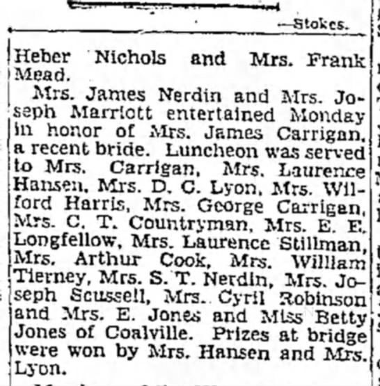 1931 Nona N. Carrigan luncheon honoring her marriage. June 28, SLTrib p. 44 -
