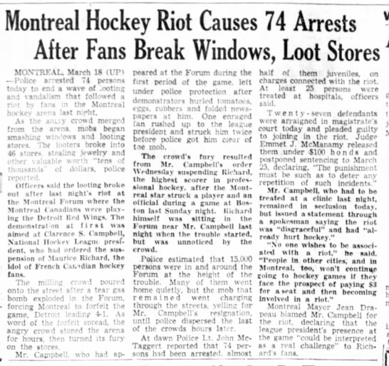 Montreal Hockey Riot Causes 74 Arrests After Fans Break Windows, Loot Stores -